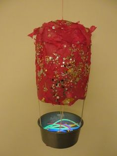 Hot Air Balloon night light from a paper bag, from Sun Hats and Wellie Boots