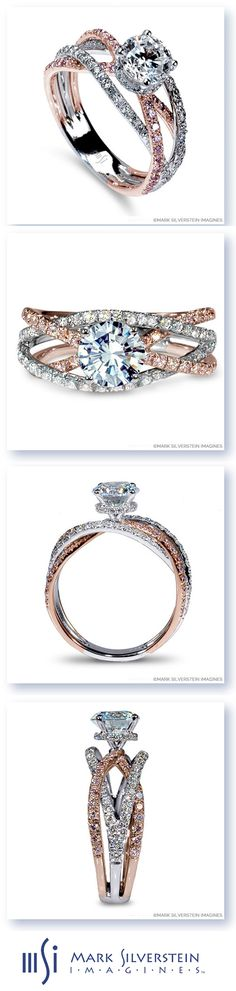 """A provocative 18K white and rose gold """"cord of three strands united"""" creates a lively and memorable engagement ring. The split shank crossover design features four pink and white diamond pavé-set bands in a fusion of warmth and austerity. Mark Silverstein Imagines"""