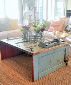 7 Unique Swaps for the Traditional Coffee Table - 7 clever coffee table substitutes: a reclaimed rustic door. Window Coffee Table, Round Wood Coffee Table, Unique Coffee Table, Coffee Table Styling, Rustic Coffee Tables, Diy Coffee Table, Creative Coffee, Ideas For Coffee Tables, Coffee Coffee