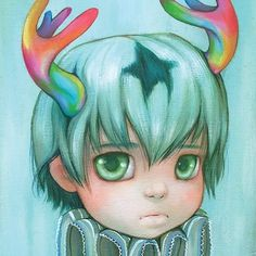 """regram @camilladerrico Hope everyone is having a great weekend! I have prints of my painting """"Puck"""" online at store.camilladerrico.com #camilladerrico #rainbow #antlers #popsurrealism #popculture #star #bigeyes #manga #art #artist #artwork"""