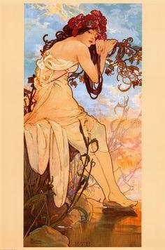 Love Art Nouveau/Alphonse Mucha. Beautiful line and color!