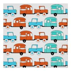 Retro Camping Trailer Turquoise Orange Vintage Car Print