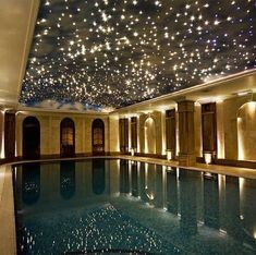 indoor pool fiber optic star ceiling over swimmingpool Indoor Swimming Pools, Swimming Pool Designs, Indoor Pools In Houses, Amazing Swimming Pools, Lap Swimming, Lap Pools, Dream Pools, Cool Pools, Awesome Pools