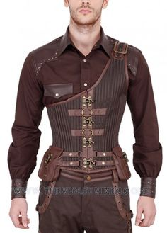 The combination of Steampunk with Gladiator roots give the Gladius a strong appearance with storage for all your Athertrooper needs.  Brown brocade stripped fabric give this underbust corset a slight shimmer to help you really stand out from the crowd.