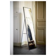 KARMSUND Floor mirror IKEA Tired in the mornings? You can save time by hanging tomorrow's outfit behind the mirror. Geometric Shapes Wallpaper, Ikea Mirror, Mirror Bedroom, Wall Mirrors, Rustic Mirrors, Bathroom Wallpaper, Floor Mirror, Floor Standing Mirror, Wall Brackets