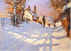 John Haskins - Sunshine and Snow, Original Oil Painting
