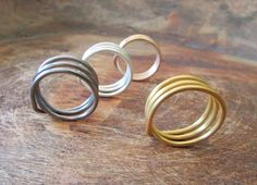 Triple Wire Ring Wire Wrap Ring Minimal Men by BlueMargaritaMetal