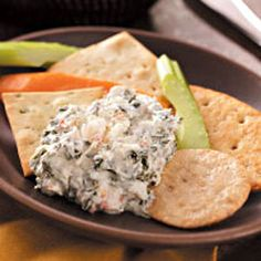 Spinach & Crab Dip - My PERSONAL absolute favorite dip recipe ever, I normally tweak it slightly and eat with scoops since they are GF