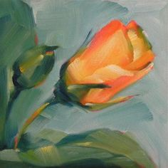 """Yellow Rosebuds"" - Original Fine Art for Sale - © Cheryl Wilson"