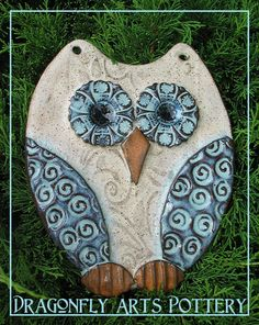 Hand made Owl Wall Hanging - Pottery Stoneware Garden Ornament. $34.00, via Etsy.