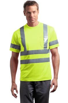 Buy the CornerStone - ANSI 107 Class 3 Short Sleeve Snag-Resistant Reflective T-Shirt Style CS408 from SweatShirtStation.com, on sale now for $18.88 #cornerstone #reflective #ansi Safety Yellow