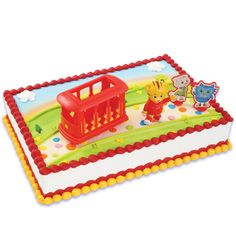 This Daniel Tiger's Neighborhood Cake Topper features everything you need to have your cake looking great for your party. Set includes: - (1) 3D Daniel Tiger - (1) 3D Trolley - (2) 2D figures of Kater