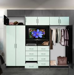 Aventa TV Wall Unit for Bedrooms - Bedroom Wall Unit 8 Drawer 4 Door Wardrobe Wall, Bedroom Wardrobe, Bedroom Closets, Bedrooms, Free Standing Wardrobe, Bedroom Wall Units, Clothing Displays, Master Bedroom Closet, Kitchen Drawers