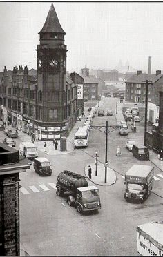 The Cafe on Scotland Road known as the Round counter. The street running down the right is Bevington Hill.