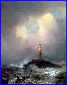 "Jean Antoine Théodore Gudin (1802-1880). ""Phare sur la Côte bretonne""  1845  Huile sur toile    Alte Nationalgalerie, Berlin"