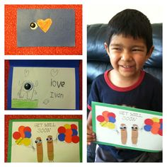 Get well and I Love You cards the kids made for grandma, both based on ideas from pinterest.