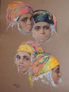 Emile DECKERS (1885-1968) - Portrait de quatre algériennes