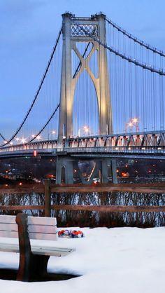 mid hudson bridge, new york, nyc, usa, winter, snow Wallpaper Apple WallpapeprsCraft