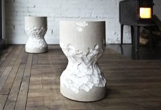 The Castor Stool from Castor . hand Carved from a single block of Marble.
