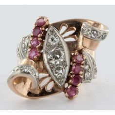 Antique 14k Rose Gold Diamond Ruby Cocktail Ring