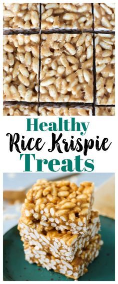 Healthy Rice Krispie Treats with peanut butter and honey #vegan options #glutenfree #cleaneating