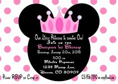 Minnie Mouse Princess Birthday Invitation by ASweetCelebration