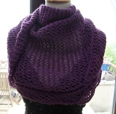 Handknitted Triangular Shawl in Purple by KnitterScarlet on Etsy