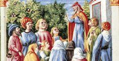 Mosè benedice uomini e donne. Opera di Taddeo Crivelli e Franco de' Russi (1455-1461). Miniatura. Bibbia di Borso d'Este, Modena, Biblioteca Estense.
