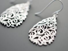 SALE - Paisley Drop Silver Earrings - Wedding jewelry, Vervain jewelry, Bridal earrings, Mother's gift, Cocktail jewelry, Clip earrings