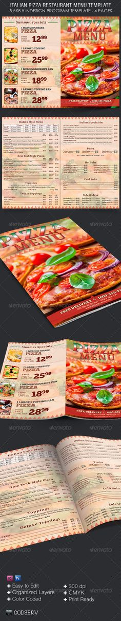 Buy Italian Pizza Restaurant Menu Template by Godserv on GraphicRiver. Italian Pizza Restaurant Menu Indesign Template is for any pizza shop that needs a menu with lots of content and a fr. Food Menu Template, Restaurant Menu Template, Restaurant Menu Design, Menu Templates, Pizza Restaurant, Pizza Pizzeria, Indesign Templates, Print Templates, Pizza Flyer