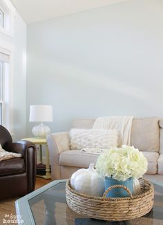 Benjamin Moore Whispering Spring paint color in living room at The Happy Housie