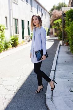 Los Angeles style post, COS button up, Clare V patent clutch, James Jeans, Tibi heels