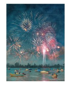 Spark relaxation in your home with this scenic canvas that recalls warm nights filled with awe-inspiring fireworks.