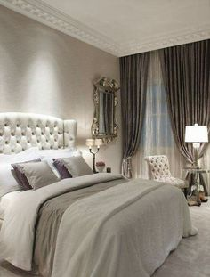 Neutral soft colours make this the romantic bedroom.