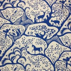 I kinda dig this fabric! Thomas Paul for Duralee Fabric Forest Blue by ihartcouture on Etsy, Motifs Textiles, Textile Prints, Textile Patterns, Textile Design, Fabric Design, Print Patterns, Lino Prints, Floral Patterns, Block Prints