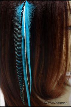 Wide & Long Feather Extension Hair Accesssories Kit - Bright Turquoise Black Feather Hair Extension - Bonded Feathers Natural Grizzly Blue