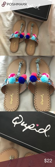 Pom Pom Sandals! Brand new, comes with box! Super cute sandals and so colorful! (Unfortunately don't fit me) Qupid Shoes Sandals