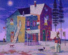 Jean Dallaire, Le Propriétaire, 1953. Huile sur toile, 51 x 61 cm. Collection MNBAQ, don de Roslyn Klein © SODRAC #mnbaq #MuseumCats Klein, Philippe, Architecture, Painting, Collection, Oil On Canvas, Painters, Painted Canvas, Cats
