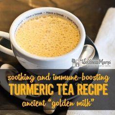 Soothing and Immune Boosting Turmeric Tea Recipe - Golden Milk Recipe - Wellness Mama Turmeric Tea Benefits, Turmeric Drink, Turmeric Recipes, Turmeric Milk Tea, Uses For Turmeric, Tumeric Milk Recipe, Rutabaga Recipes, Watercress Recipes, Turmeric Golden Milk