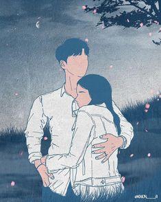 Cute Couple Drawings, Cute Couple Art, Love Drawings, Art Drawings, Couple Illustration, Illustration Art, Romantic Artwork, Cute Love Cartoons, Couple Cartoon