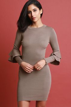 This knitted sweater dress features a sculpture bodycon fit, round neckline, long sleeves with double trumpet tier at quarter sleeves, and mini length hem.Measurement Size Bust Waist Hip Length Sleeve S 24 19 26 21 M 26 21 28 L 28 23 30 Lacey Tops, Fashion Outfits, Womens Fashion, Fashion Trends, Midi Cocktail Dress, Knit Sweater Dress, Hot Dress, Bodycon Dress, Mini Dresses