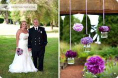lavender & purple bouquet & poms