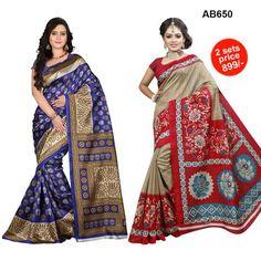 COMBOS-Women's Nice Looking Bhagalpuri Cotton Silk Sarees - SRP-Blue Diamond , SRP-Chameli Red