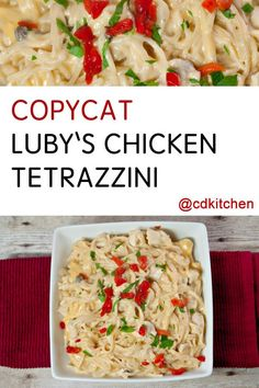 10 Most Misleading Foods That We Imagined Were Being Nutritious! Copycat Luby's Chicken Tetrazzini - Luby's Cafeteria Makes A Delicious Tetrazzini That You Can Copy At Home With This Recipe. It's A Great Way To Use Leftover Chicken Or Turkey. Chicken Tetrazzini Recipes, Turkey Tetrazzini, Copycat Recipes, New Recipes, Cooking Recipes, Recipies, Favorite Recipes, Healthy Recipes, Leftover Chicken Recipes