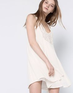 Pull&Bear - woman - dresses - dress with crochet back - ice - 05390319-V2016