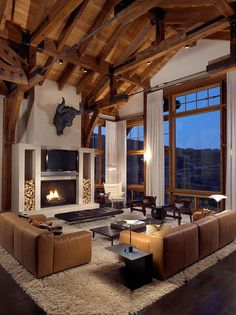 Image result for ski homes with brass living room