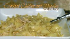 Frozen chicken, cream of chicken soup in crock pot all day. When home, boil noodles, shred chicken in sauce, add chick broth and seasonings. Eat. easy recipes
