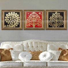 I love this artwork Wall Stickers Home Decor, Diy Wall Decor, 3 Piece Canvas Art, Canvas Collage, Madhubani Painting, Kalamkari Painting, Thai Design, Clay Wall Art, Madhubani Art