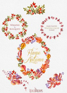 Watercolor Wreaths Bouquets Autumn clipart fall by ReachDreams