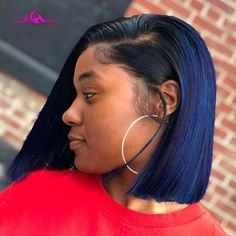 Blue Lace Front Wig, Bob Lace Front Wigs, Bob Cut Wigs, Short Bob Wigs, Weave Hairstyles, Straight Hairstyles, Baddie Hairstyles, Black Hairstyles, Relaxed Hairstyles